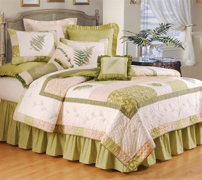 Fern Valley Quilt Machine Washable Green Fern Design
