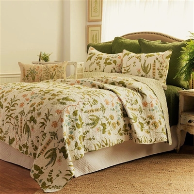 Anessa bedding by C & F- Anessa Quilt- A fresh botanical print of ferns and flowers on a cream background. The florals are predominantly green with soft peach and light blue highlights. Green lattice print is shown for the reverse.