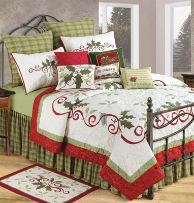 Holiday Garland is a festive quilt design that will bring the spirit of Christmas to your master bedroom suite. Classic red, green, and ivory embroidery and appliqués of ribbon and holly add a luxurious overall effect. Lovely fern green plaid Euro