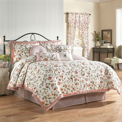Spring is in the air with Waverly's Retweet 3 piece reversible quilt collection! The whimsical design features a charming collection of flowers and leaves accented with birds. The pattern reverses to a coordinating ticking stripe.