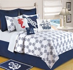 Knotty Buoy - Ahoy! Get ready to set sail with this nautical themed quilt ensemble. The quilt features a navy on white knotted rope design that reverses to a blue pin stripe. Decorative pillows with ships, seahorses and rope patterns compliment the beddi