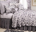 inspired by an 18th century quilted copperplate-printed fabric from the Colonial Williamsburg collections. The reversible quilt has beautiful intricate and detailed stitching with scalloped edges on four sides.