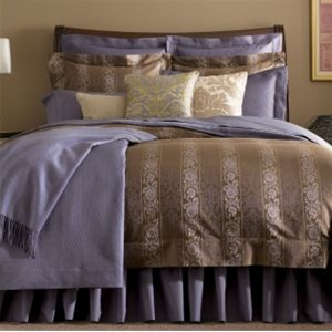 Hampton, A luscious jacquard bearing elegant bands of contrasting color is crested with a delicate sylvan pattern. Cool, calm and composed with a soft hand and a mellow drape. Duvet and shams finished with punto ombra hems and flanged borders