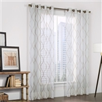 Crystal is a woven linen like white textured sheer fabric with tan emboridery.. The hourglass shaped embroidery design will create an open spacious feeling in any room.