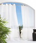 Cote D'Azure by Commonwealth -Semi sheer linen like curtains provide privacy and allow you protection from the sun without blocking the view. Our Outdoor Sheer Panels have 8 silver stainless steel plated grommets that will slide effortlessly