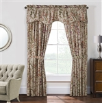 "Rockport- Dress your windows with this delicate floral print. Neutral shades of mocha, tan, sage, goldenrod and plum on a linen ground. Each curtain pair (unlined) has 2- 50"" wide panels and 2- 24"" long tie backs."