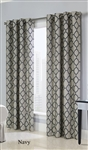 Clover Couture Panels feature a beautifully woven jacquard fabric with a Moroccan tiled design that will add an elegant look to any room. Panels are grommet-topped for easy installation. Each panel has 8 Matte Silver Grommets.
