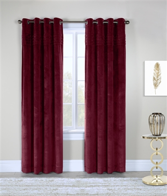 Victorian Velvet,  Classic and elegant this velvet panel will add a luxurious look to any room. Plush and soft velvet with four rows of sewn in pleats at the top of each panel.