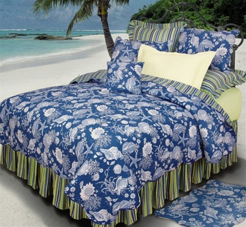 Blue Shell Quilt Blue And White Tropical Design Of