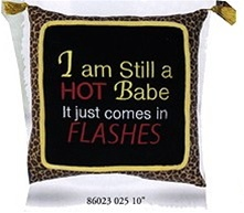 "Whimiscal word pillow, ""I'm still a hot babe, it just comes in flashes""."