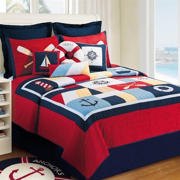 Sail Away Handcrafted Quilt Lighthouse Boats Anchor