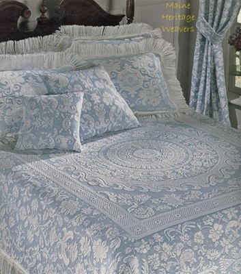 Queen Elizabeth bedspread designed and manufactured  in the famous Bates factory. They use the same skills to create this Colonial American reproduction featuring a matelasse center border design.
