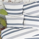 The softness of chambray in shades of blue creates a chic look for any room. This basic design features wide awning and alternating pinstripes to create a timeless look. Mix with coordinate pillows and fringed throw from the Carol & Frank collection.