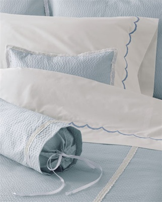 Simple scallop embroidery embellishes the hemline of the flat sheet and pillowcase, 350 thread count, 100% cotton, made in USA Machine washable. Colors White, Blue, Linen, Jade,  Ocean