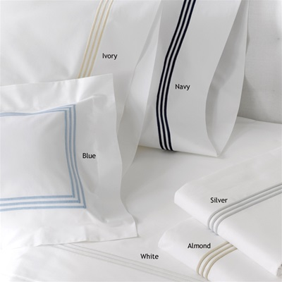 Classic design- three lines of satin embroidery on a white percale sheeting has a timeless appeal. Cool 350 thread count 100% cotton percale that feels softer after each washing