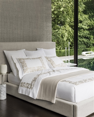 Saxon by Sferra, Plumes of the most lush and exquisite stitching decorate Sferra's soft Egyptian cotton percale, which sings like and ode to the Art Nouveau movement. Styled from an antique piano scarf,