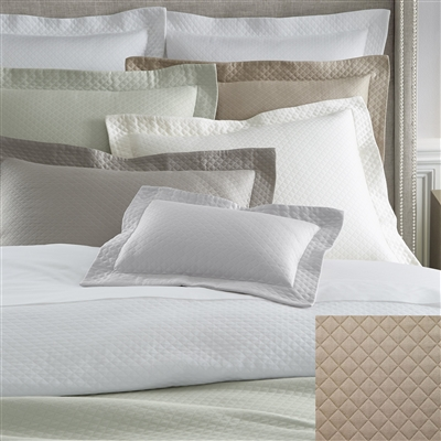 Bari- timeless classic that is enjoying a modern renaissance, the clean-lined simplicity of this Egyptian cotton diamond piqué cover complements almost any style. It has a substantial weight, lustrous sheen and soft finish, and is Sanforized