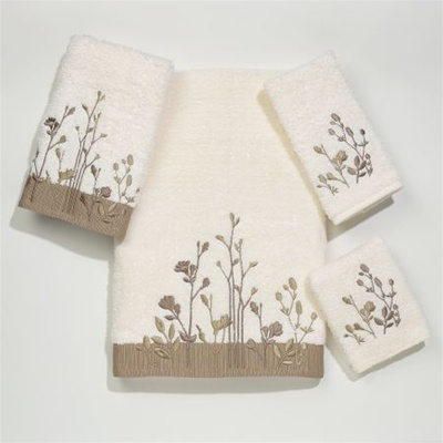 Ultimate Floral Fields By Avanti-  Avanti's finest quality 100% cotton oversize towels.  Embellished with intricate floral stem embroidery in Ivory or Linen.