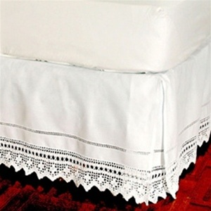 "Elegant hand crochet lace tailored bed skirt is made of 100% cotton with an intricate chevron motif inset. Split corner drop to accommodate footboards. Comes in a 14"" or 18"" drop in twin, full, queen and king sizes. Coordinate European sham"