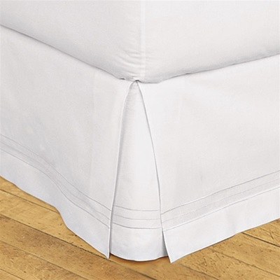 "Hotel Stripe Bedskirt - Elegant three line stripe embroidery design of high luster satin yarn. Machine washable, 100% cotton with split corners to accommodate footboards. 18"" high bedskirts can be used under 14"" bedskirts to create stylish layered looks."
