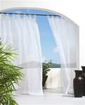 Escape from the strong sun. Sheer curtains provide privacy and allow you protection from the sun without blocking the view. Our Outdoor Sheer Panels have 8 tabs that will slide effortlessly on a decorative rod. There is no need to remove the rod