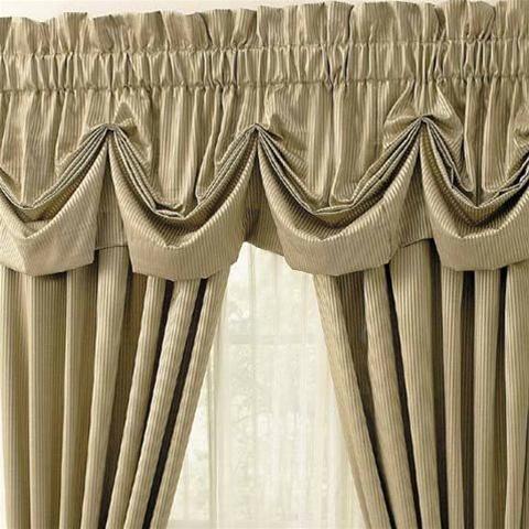 Amalfi Tone On Tone Stripe Window Curtains Tuck Valance