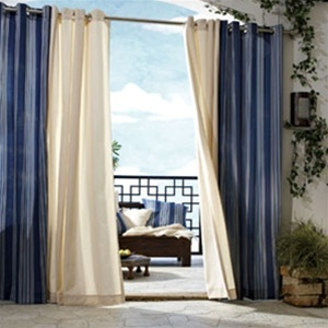 Gazebo Outdoor Curtain Solid Color Stripe Outdoor Curtain Water Repellent Fade Resistant And