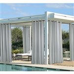Coastal Stripe-This curtain panel is made of 100% polyester, making it durable enough for outdoor use. The material is water-repellent and resists fading and mildew. Eight stainless-steel plated grommets provide easy opening and closing.