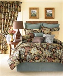 "Audubon By Rose Tree- A magnificent traditional Jacobean design that will add elegance to your master suite. Audubon has rich colorations of red and gold, with soft blues and greens on a chocolate brown background. The18"" bedskirt features a blue"