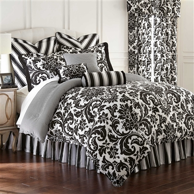 Symphony By Rose Tree, The elegance of a luxurious formal damask print will add a classic designer look to your bedroom suite. Symphony bedding by Rose Tree has a striking combination of pearl white on a black ground reversing to an architectural print