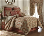 Harrogate by Rose Tree, A classic allover damask design in rich earth tone colors of red, gold and green on an ivory ground.