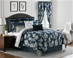 Kylie by Rose Tree, An allover Jacobean pattern in off white on a navy textured ground reversing to an allover tile pattern in navy on an off white ground. Comforter and shams are trimmed with a twist cord in off white