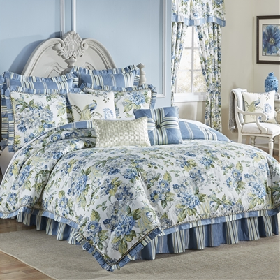 Floral Engagement- Bring your bedroom to life with the Waverly Floral Engagement Bedding Collection This beautiful ensemble features an ornate traditional floral in fresh hues of blue and green on a crisp ivory ground and reverses to a coordinating stripe