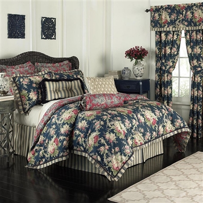 Waverly Sanctuary Rose- features blush florals on a striking blue ground. The comforter is accented with a cream and green pleated flange with braided cording and reverses to an elegant toile print of blue and cream on a rich red background.