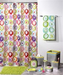 All Than Jazz Retro Shower Curtain Collection- A fun collection featuring a brightly colored shower curtain. Unique bath accessories.are finished in a shiny metallic resin with a matte stainless steel finish