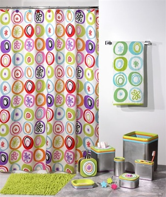 Washable Shower Curtain Contemporary Modern Bright Colors