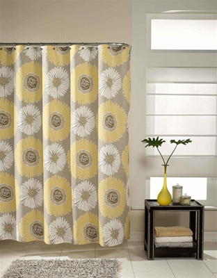 Bloom shower curtain, contemporary pattern, designer influenced