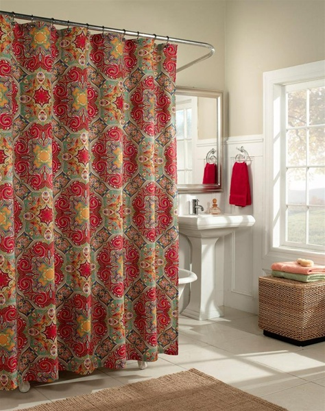 Kashmir Inspired by the markets of Marrakesh  this detailed and classically  colorful print willKashmir shower curtain  fashion colors Moroccan influenced  . Red And Blue Shower Curtain. Home Design Ideas