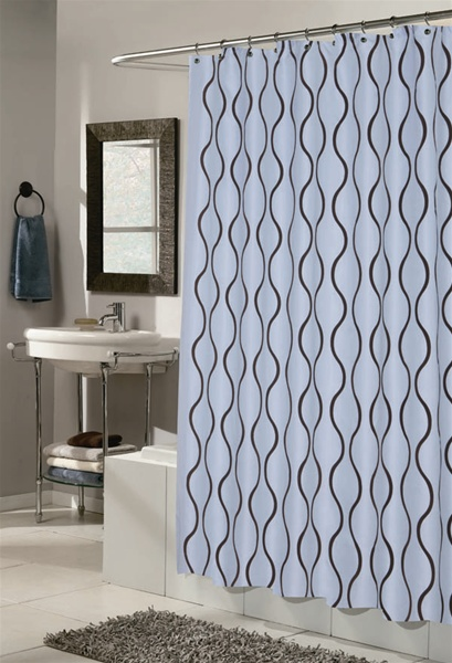 Geneva BlueBrown Fabric Hookless Shower Curtain