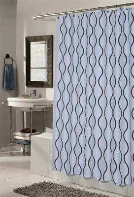 Geneva Blue/Brown Fabric Hookless Shower Curtain