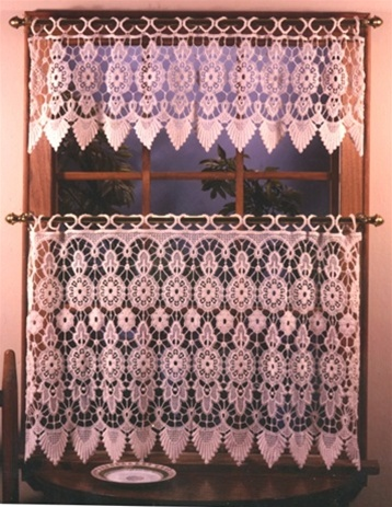 Lovely macrame tailored tier curtain with decorative scalloped bottom hem. Round circle macrame loops at top. Should be shirred only slightly to expose the beauty of the lace.