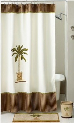 Feel the ocean breeze and relax with this tropical collection that features a beautiful embroidered palm tree on an ivory background. The fabric shower curtain has a two toned striped border for classic appeal. Coordinate towels, rug