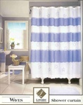 "Waves - A novelty shower curtain made in a bouffant style featuring embroidered shells and starfish on a sheer polyester background. Machine washable.  Shower curtain is 72"" wide x 72"" long, machine washable."
