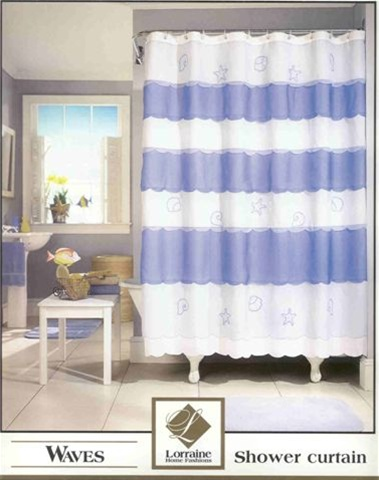 Sheer washable shower curtain with shells and starfish