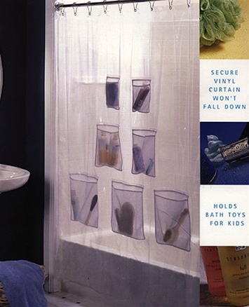 Keep Your Shower Organized With This Creative System Of Pockets Vinyl Curtain Seven