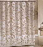 Elegant sheer burnout design. The shower curtain is a  poly linen/cotton blend.