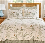 A fresh botanical print of ferns, flowers butterflies and dragonflies on a cream background. The florals are predominantly green with gold highlights.The quilt reverse, Euro shams and bedskirts feature a medallion print in moss  to compliment the floral.