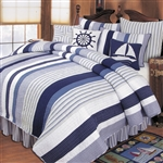 Nantucket Dream - Ahoy! Get ready to set sail with this nautical themed quilt ensemble. A beautiful ensemble in blue and white, the Nantucket Dream quilt collection features nautical stripes and decorative pillows with images of ships wheels and sailboats