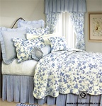 toile pattern inspired by an 18th century quilted copperplate-printed fabric from the Colonial Williamsburg collections. The reversible quilt has beautiful intricate and detailed stitching with scalloped edges
