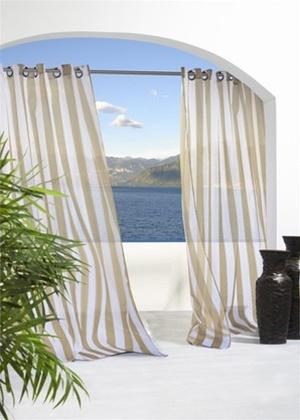 Outdoor Sheer Stripe Curtain Panels With Grommet Top